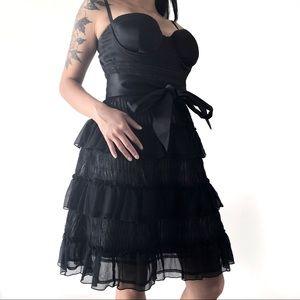 🔥 Marciano Women's Black Ruffled Lace Mini Dress